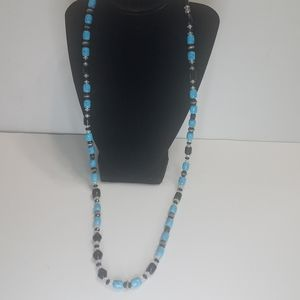 Long Beaded Necklace Blues Silver Black